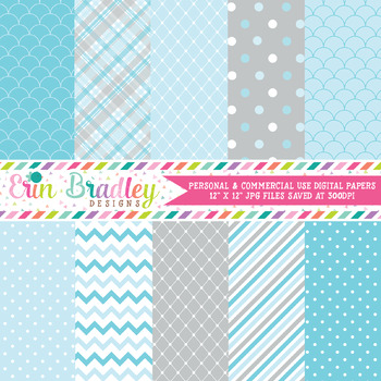 Winter Wonderland Digital Papers in Blue & Gray
