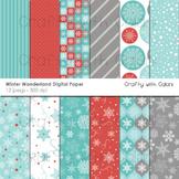Winter Wonderland Digital paper, Winter Background, Snowflakes Background