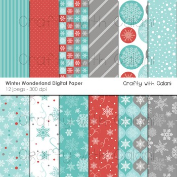 Winter Wonderland Digital paper, Winter Background, Snowflakes Background