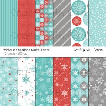 Winter Wonderland Digital paper, Winter Background, Snowfl