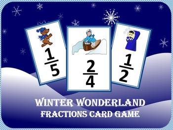 Winter Wonderland Fractions Card Game