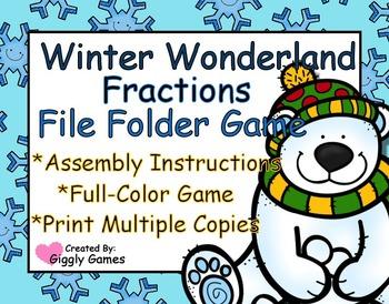 Winter Wonderland Fractions File Folder Game