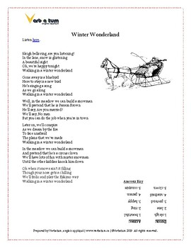 Winter Wonderland - Fun Christmas Worksheet, Crossword