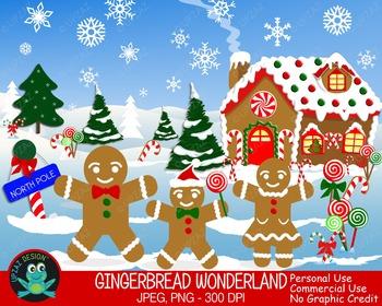 Gingerbread Winter Wonderland {Upzaz Digital Clipart}