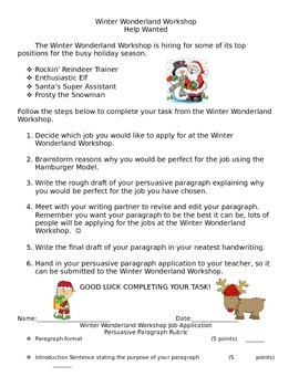 Winter Wonderland Help Wanted Persuasive Paragraph