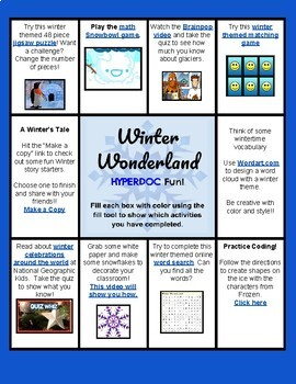 Winter Wonderland HyperDoc Fun