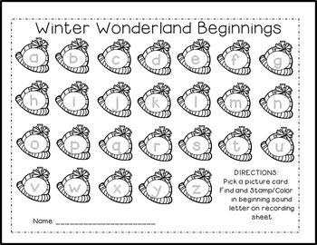 Winter Wonderland Kinder Math & ELA Pack (24 CCSS Centers)