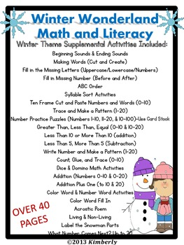 Winter Wonderland Math and Literacy (Print & Go Common Core Aligned)