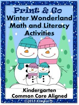 Winter Wonderland Math and Literacy (Print & Go Common Cor