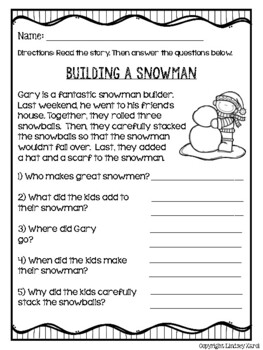 Winter Wonderland Mini Stories and WH Comprehension Questions