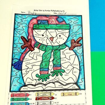 Color by Number Multiplication Worksheets: Winter Wonderland