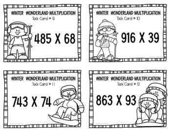 Multiplication Task Cards - Winter Wonderland