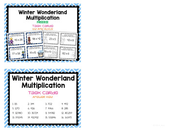 Multiplication Task Cards Winter Wonderland