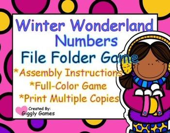 Winter Wonderland Numbers File Folder Game