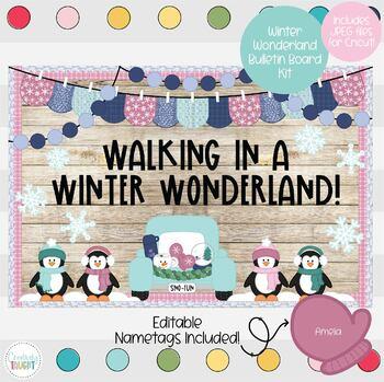 Winter Wonderland Penguin Truck New Year S Themed Bulletin Board Kit
