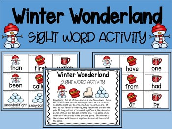 Winter Wonderland Sight Word Activity