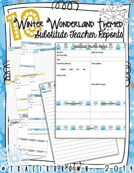 Winter Wonderland Substitute Teacher Report Pack