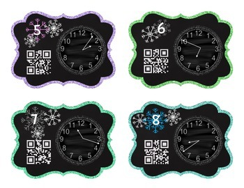 Winter Wonderland Telling Time QR Code Activity