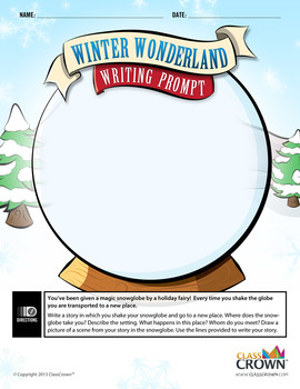 Winter Wonderland Writing Prompt - Snow Globe Story - Christmas - B&W Print Rdy