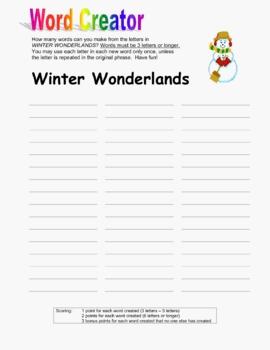 Winter Wonderlands Word Creator Puzzle Packet