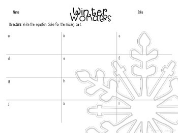 Winter Wonders: Equations with missing parts  Sums to/Differences from 20