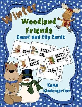 Winter Woodland Friends Count and Clip Cards (Quantities to 20)