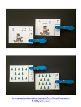 Winter Woodland Friends Math Centers (Numerals to 20)