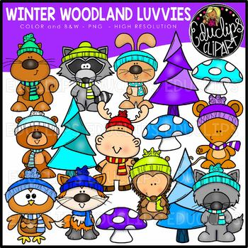 Winter woodland. Luvvies clip art set