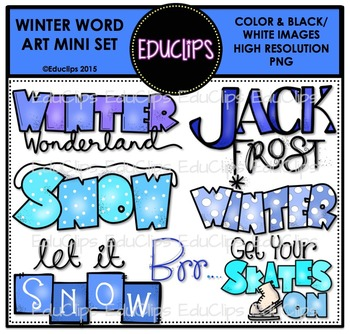 Winter Word Art Mini Clip Art Bundle {Educlips Clipart}