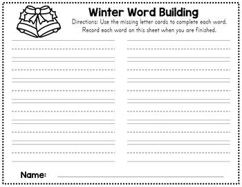 Winter Word Work - CVC Cards