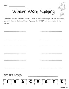 Winter Word Building Center Sheets
