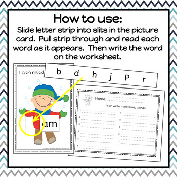 Winter Word Family Slide and Write