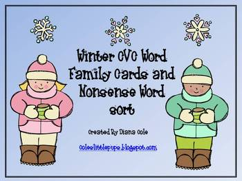 Winter Word Family and Nonsense Word Sorts and Game