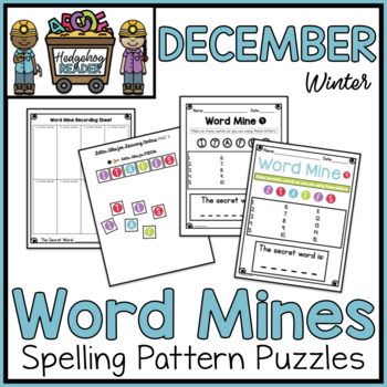 December Word Mines CCSS Spelling Puzzles