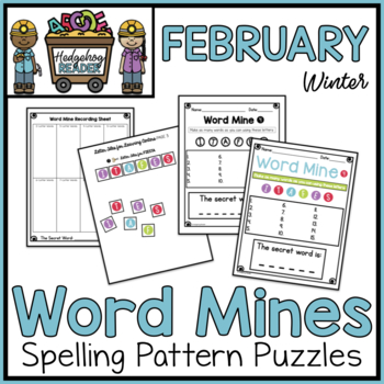 February Word Mines CCSS Spelling Puzzles