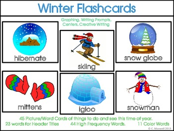 Winter Word Picture Flashcards, High Frequency Word Cards and Activities