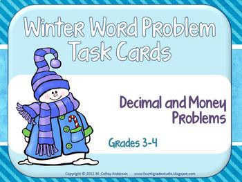 Winter Word Problem Task Card Bundle for Grades 3-4