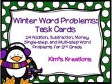 Winter Word Problem Task Cards: 2nd Grade (addition, subtr