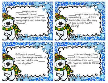 Winter Word Problem Task Cards & Game Board