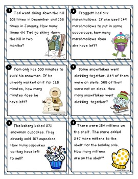 Winter Word Problem Task Cards Using 3-Digit Addition and Subtraction