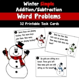 Winter Word Problem Task Cards Using Simple Addition and Subtraction