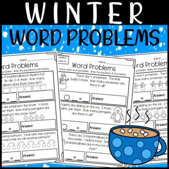 Winter Word Problem Worksheets: Within 10 & 20-- With and Without Pictures