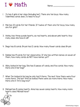 Valentines Word Problems: 1st Grade