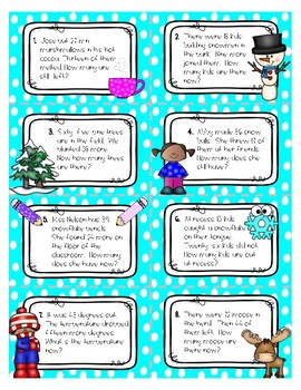 Winter Word Problems - 2-digit, with regrouping