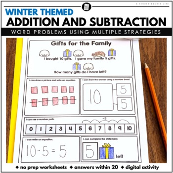 Winter Word Problems Addition and Subtraction Within 20