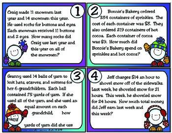 Winter Word Problems: 4th Grade Texas Math (TEKS 4.4H)