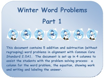 Winter Word Problems:  Addition and Subtraction