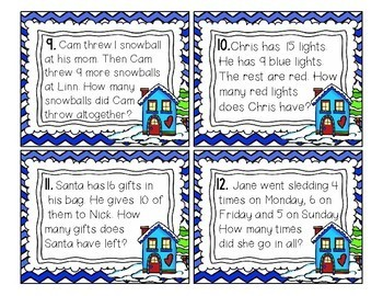 Winter Word Problems: Christmas Themed Task Cards