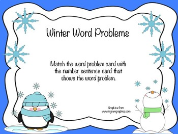 Winter Word Problems Match (Addition and Subtraction)