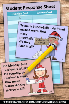 Winter Math Game 1st Grade Word Problems, Penguins and Polar Bears